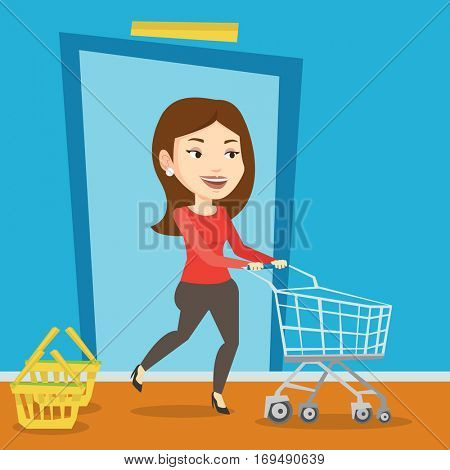 Young caucasian woman running into the shop. Woman rushing to shopping. Cheerful customer with an empty shopping trolley pushing supermarket trolley. Vector flat design illustration. Square layout.