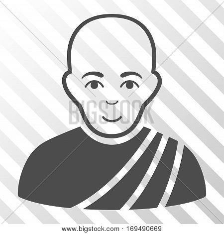 Gray Buddhist Monk interface toolbar pictogram. Vector pictogram style is a flat symbol on diagonally hatched transparent background.