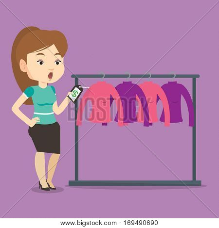 Young shopping woman shocked by price tag in clothing store. Surprised woman looking at price tag in clothing store. Amazed woman staring at price tag. Vector flat design illustration. Square layout.