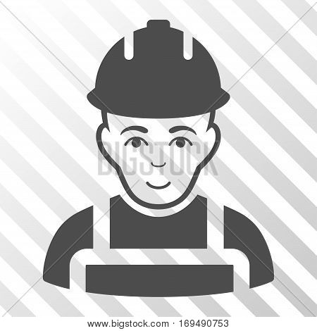 Gray Builder interface pictogram. Vector pictograph style is a flat symbol on diagonal hatch transparent background.