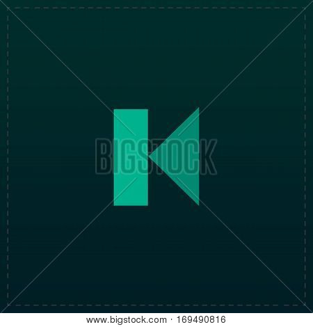 Back Track arrow Media player control button. Color symbol icon on black background. Vector illustration