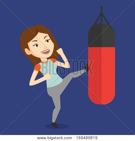Smiling caucasian female boxer exercising with boxing bag. Female boxer hitting heavy bag during training. Female boxer training with the punch bag. Vector flat design illustration. Square layout.