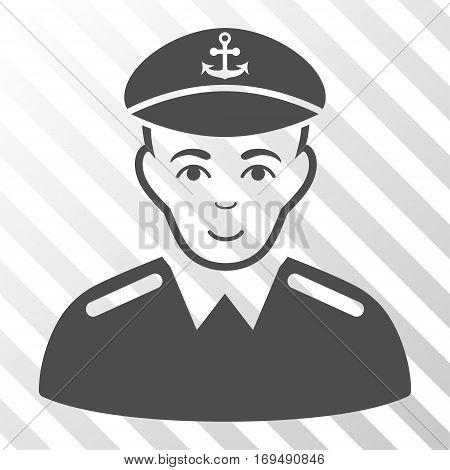 Gray Captain interface toolbar pictogram. Vector pictogram style is a flat symbol on diagonal hatch transparent background.