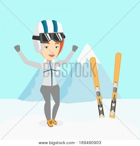 Caucasian sportswoman standing with skis on the background of mountains. Young woman skiing. Cheerful skier resting in the mountains during sunny day. Vector flat design illustration. Square layout.