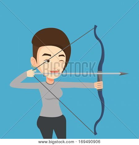 Young caucasian sportswoman practicing in archery. Concentrated sportive woman training with the bow. Archery player aiming with a bow in hands. Vector flat design illustration. Square layout.