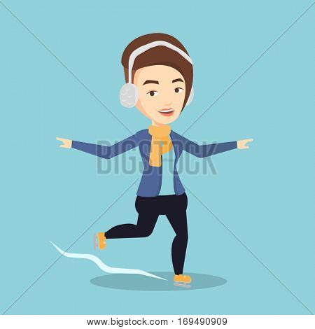 Happy caucasian sportswoman ice skating. Young smiling woman ice skating. Young cheerful woman at skating rink. Female figure skater posing on skates. Vector flat design illustration. Square layout.