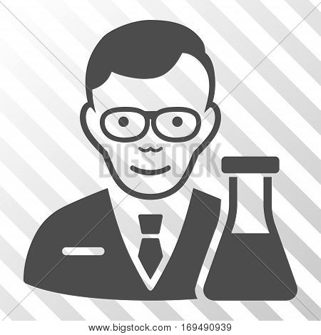 Gray Chemist interface pictogram. Vector pictograph style is a flat symbol on diagonal hatch transparent background.