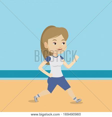 Caucasian woman jogging on the beach. Sporty female athlete running on the beach. Woman running along the seashore. Fit woman enjoying jogging on beach. Vector flat design illustration. Square layout.
