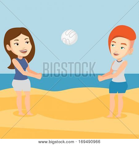 Young caucasian woman playing beach volleyball with her friend. Two caucasian women having fun while playing beach volleyball during summer holiday. Vector flat design illustration. Square layout.