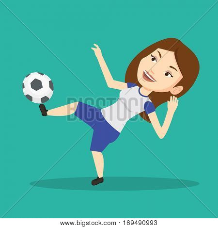 Young caucasian soccer player kicking ball during game. Happy female soccer player juggling with a ball. Football player playing with soccer ball. Vector flat design illustration. Square layout.