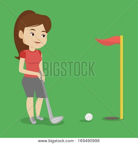 Young caucasian female golfer playing golf. Young golfer hitting the ball in the hole with red flag. Professional golfer on the golf course. Vector flat design illustration. Square layout.