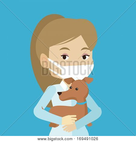 Young caucasian veterinarian holding dog. Female veterinarian in medical mask carrying a dod. Female veterinarian examining dog. Pet care concept. Vector flat design illustration. Square layout.