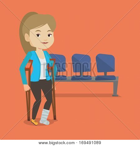 An injured caucasian woman with leg in plaster. Young woman with broken leg using crutches. Smiling woman with fractured leg. Vector flat design illustration. Square layout.