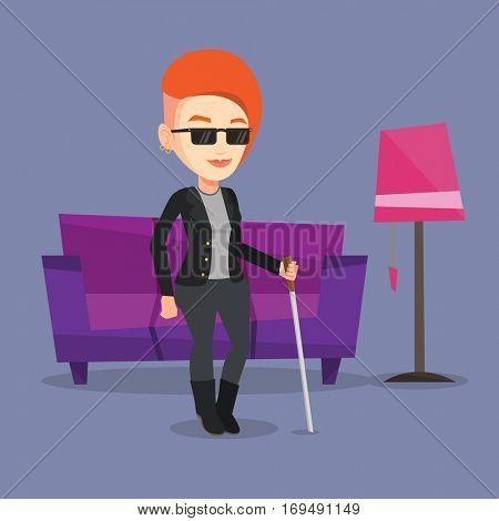 Caucasian blind woman standing with walking stick at home. Young blind woman in dark glasses standing with cane at home. Blind woman walking with stick. Vector flat design illustration. Square layout.