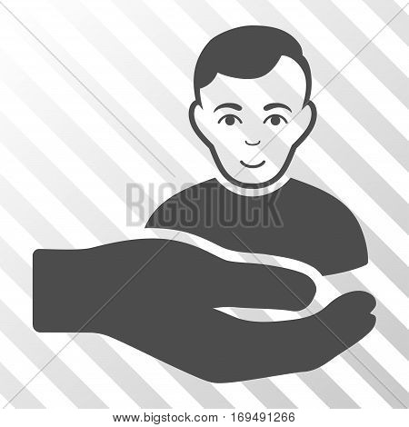 Gray Customer Support Hand toolbar pictogram. Vector pictogram style is a flat symbol on diagonally hatched transparent background.