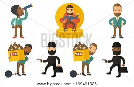 Chained taxpayer carrying heavy bags with taxes. Upset taxpayer holding bags with dollar sign. Concept of tax time and taxpayer. Set of vector flat design illustrations isolated on white background.