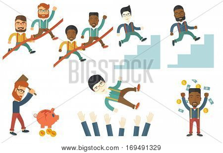 Businessman leader running through finish line. Businessman leader crossing finish line. Business success and leadership concept. Set of vector flat design illustrations isolated on white background.