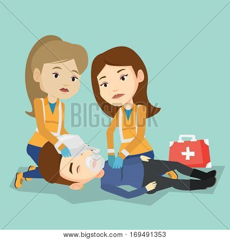 Caucasian paramedics doing cardiopulmonary resuscitation of a woman. Team of young emergency doctors during process of resuscitation of an injured woman. Vector flat design illustration. Square layout poster