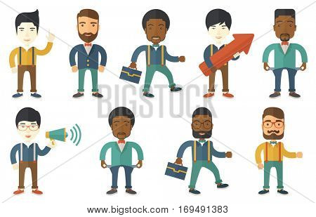 Businessman holding arrow representing business growth. Businessman thinking about a strategy of business growth. Business growth concept. Set of vector illustrations isolated on white background.