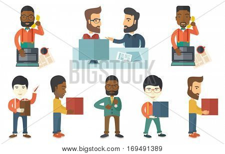 Young happy office worker working on laptop. Smiling office worker using laptop and talking on mobile phone. Cheerful office worker at work. Set of vector illustrations isolated on white background.