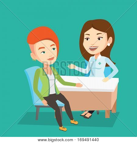 Caucasian doctor consulting female patient in office. Doctor talking to smiling patient. Doctor communicating with patient about her state of health. Vector flat design illustration. Square layout.
