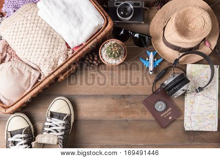 Travel Accessories Costumes. Passports, Luggage, Vintage Camera