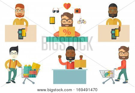 Man paying wireless with his smartphone at the supermarket checkout . Male customer making payment for purchase with smartphone. Set of vector flat design illustrations isolated on white background.