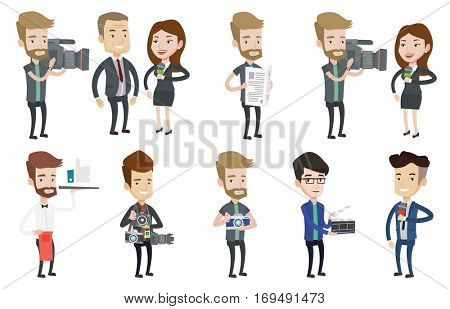 Cheerful TV reporter with microphone. Young caucasian female TV reporter presenting the news. TV transmission with a reporter. Set of vector flat design illustrations isolated on white background.