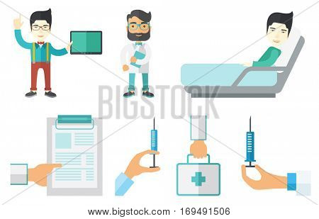 Male patient lying in hospital bed. Smiling patient resting in hospital bed. Hipster doctor holding folder with patient records. Set of vector flat design illustrations isolated on white background.