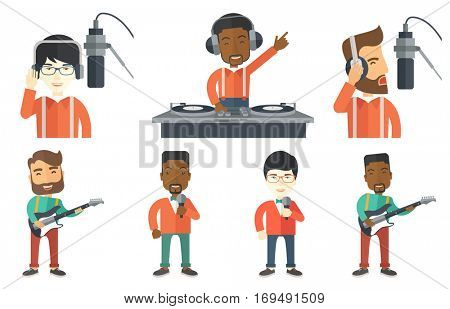 Man in headphones singing in recording studio. Hpster singer making a record of his voice. Young singer recording a song in studio. Set of vector flat design illustrations isolated on white background