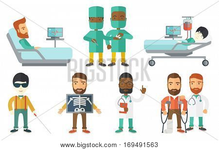 Patient during x ray procedure. Man with x ray screen showing his skeleton. Patient visiting roentgenologist for x ray examination. Set of vector flat design illustrations isolated on white background