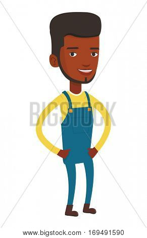 Smiling african-american farmer. Happy farmer standing with hands in pockets. Illustration of full lenght of young satisfied farmer. Vector flat design illustration isolated on white background.