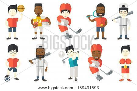 Ice hockey player skating on rink. Ice hockey player with stick and puck. Man playing ice hockey. Baseball player holding bat. Set of vector flat design illustrations isolated on white background.