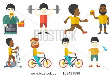 Sportive happy man riding a bicycle. Smiling cyclist riding a bicycle. Young healthy man on a bicycle. Healthy lifestyle concept. Set of vector flat design illustrations isolated on white background.