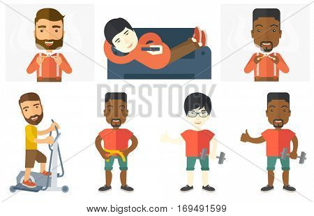 Young man breaking the cigarette. Man crushing cigarette. Man holding broken cigarette. Guy against smoking. Quit smoking concept. Set of vector flat design illustrations isolated on white background.