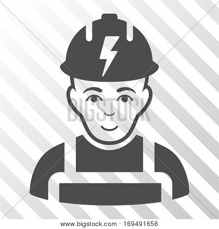 Gray Electrician toolbar icon. Vector pictogram style is a flat symbol on diagonally hatched transparent background.