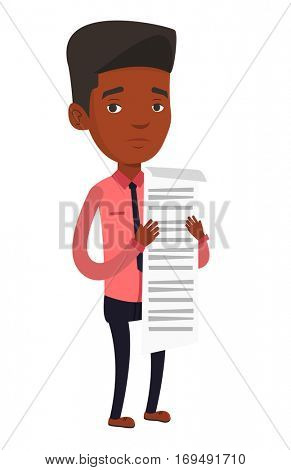 African businessman standing with a long bill in hands. Disappointed businessman holding long bill. Businessman looking at long bill. Vector flat design illustration isolated on white background.