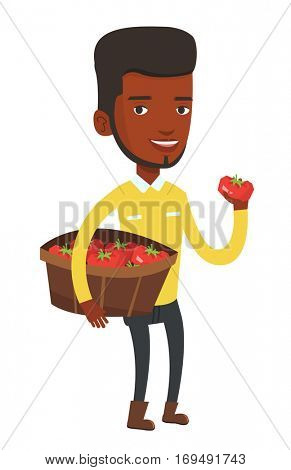 Young african-american farmer holding a box with tomatoes. Farmer standing with box of tomatoes. Farmer showing ripe red tomato. Vector flat design illustration isolated on white background.
