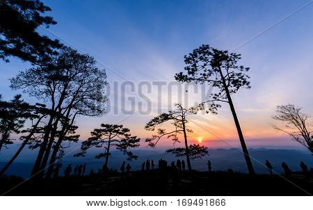 Beautiful Sky With Sunrise At Nok Aen Cliff
