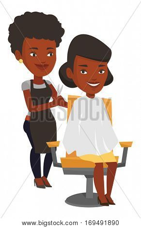 African hairdresser cutting hair of young woman in beauty saloon. Hairdresser making haircut to a client with scissors in beauty saloon. Vector flat design illustration isolated on white background.