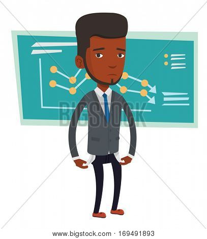 African bankrupt businessman showing his empty pockets. Bankrupt businessman turning his empty pockets inside out. Bankruptcy concept. Vector flat design illustration isolated on white background.