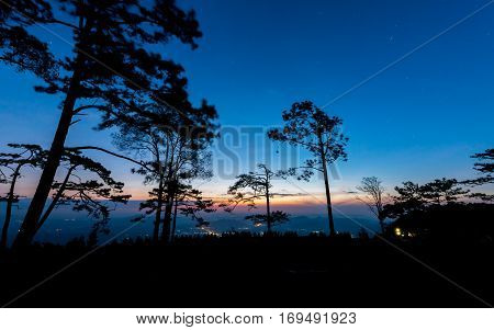 Beautiful Sky And First Light From Sunrise With Star On Morning