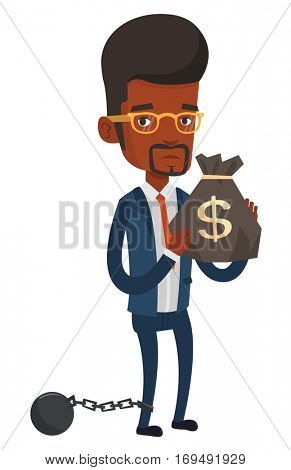 Chained african businessman holding bag full of taxes. Upset taxpayer holding bag with dollar sign. Concept of tax time and taxpayer. Vector flat design illustration isolated on white background.