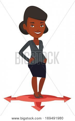 An african-american woman standing on three alternative career ways. Young woman choosing career way. Concept of career choices. Vector flat design illustration isolated on white background.
