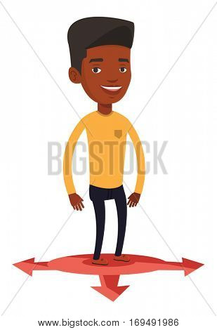 An african-american man standing on three alternative career ways. Young man choosing career way. Concept of career choices. Vector flat design illustration isolated on white background.