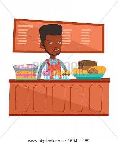 An african-american bakery worker offering pastry. Worker standing behind the counter with cakes at the bakery. Man working at the bakery. Vector flat design illustration isolated on white background.