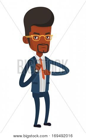 Angry employer pointing at time on wrist watch. African employer checking time of coming of latecomer employee. Concept of late to work. Vector flat design illustration isolated on white background.