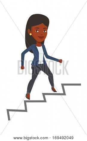 African-american business woman running up the career ladder. Happy business woman climbing the career ladder. Concept of business career. Vector flat design illustration isolated on white background.