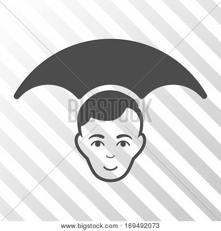 Gray Head Umbrella toolbar pictogram. Vector pictograph style is a flat symbol on diagonally hatched transparent background.