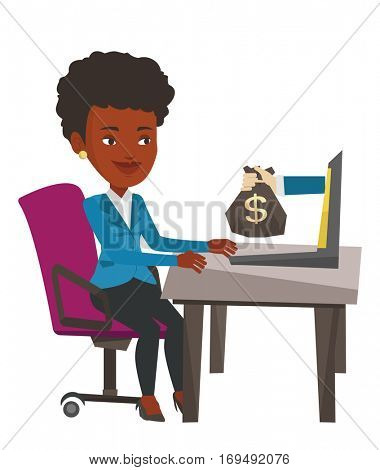Business woman working in office and bag of money coming out of laptop. Woman earning money from online business. Online business concept. Vector flat design illustration isolated on white background.